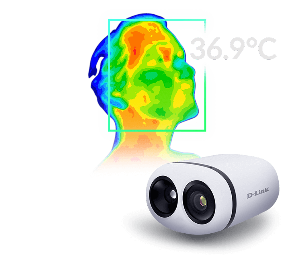 Thermal image of a person with a normal body temperature next to the DCS-9500T Group Temperature Screening Camera