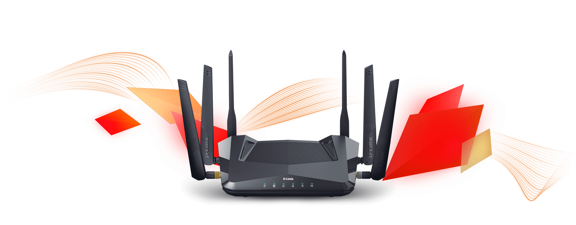 DIR-X5460 AX5400 Wi-Fi 6 Router with red diamond shapes and wireless waves