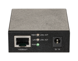 DMC-G01LC 1000BaseT to SFP Standalone Media Converter - front view.