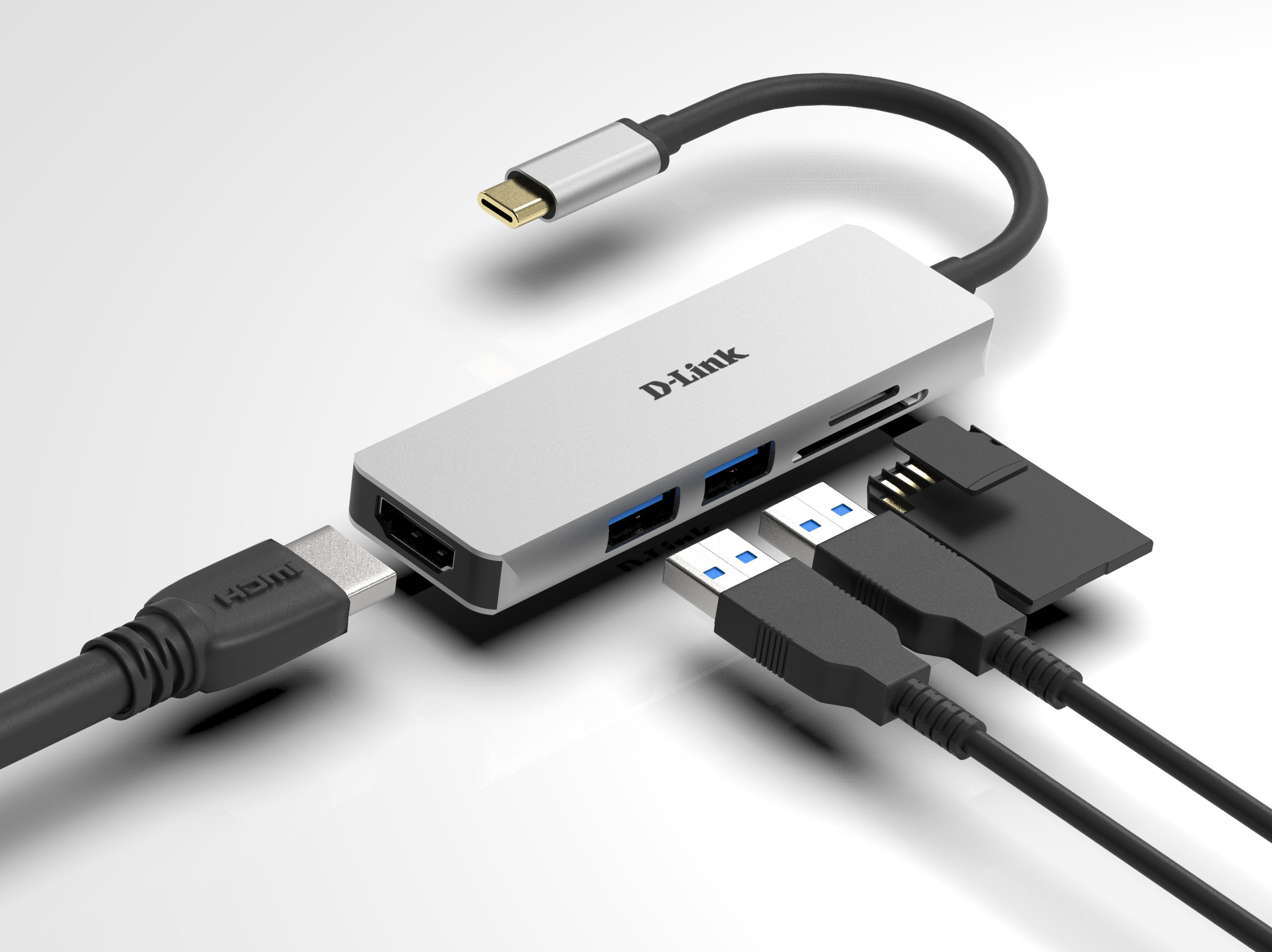 DUB-M530 5-in-1 USB-C Hub with HDMI and SD/microSD Card Reader - example connections