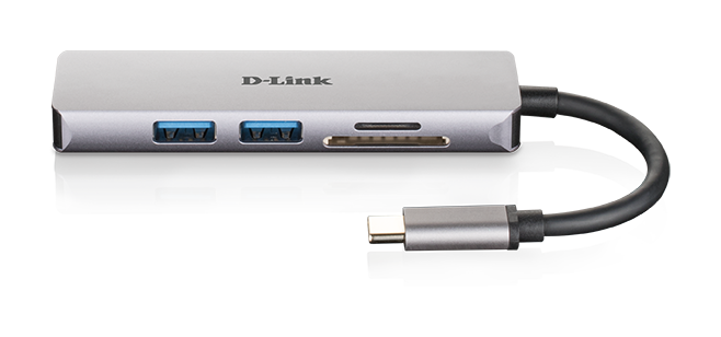 DUB-M520 5-in-1 USB-C Hub with HDMI and SD/microSD Card Reader - front side with reflection
