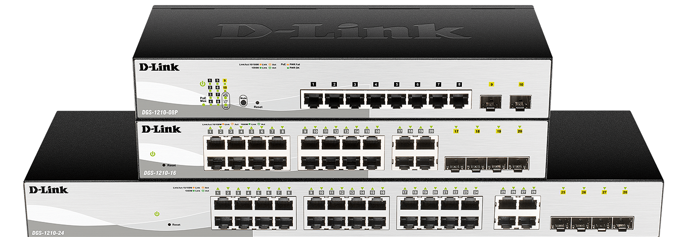 DGS-1210 Smart Managed Gigabit Switches port varieties