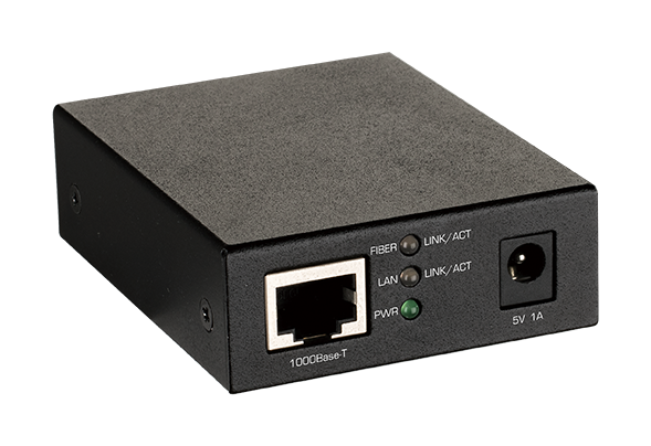 DMC-G01LC 1000BaseT to SFP Standalone Media Converter - side angled view.