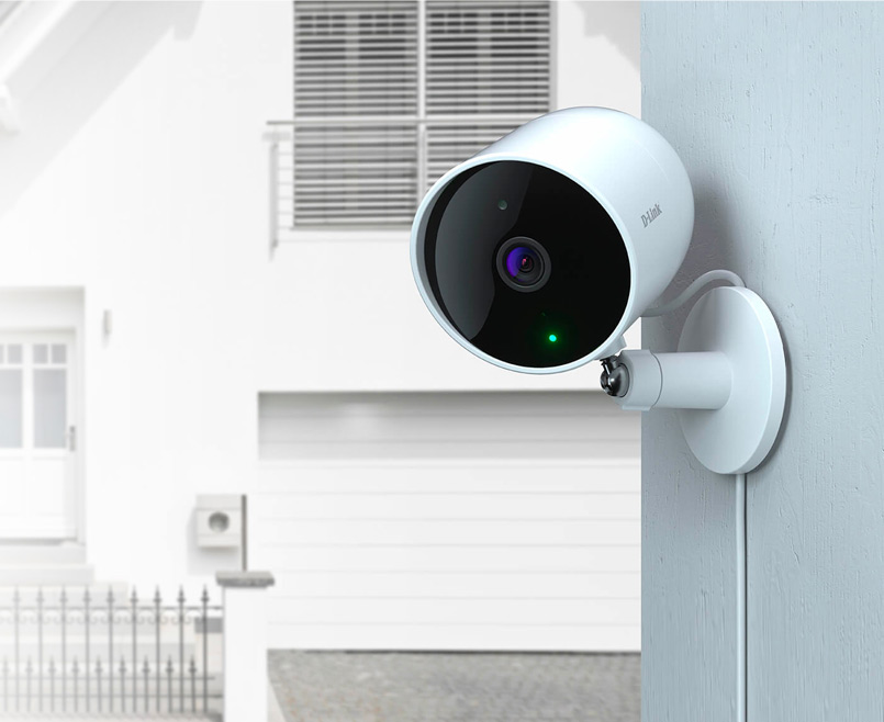 DCS-8302LH Full HD Outdoor Wi-Fi Camera mounted on a wall inside a house.