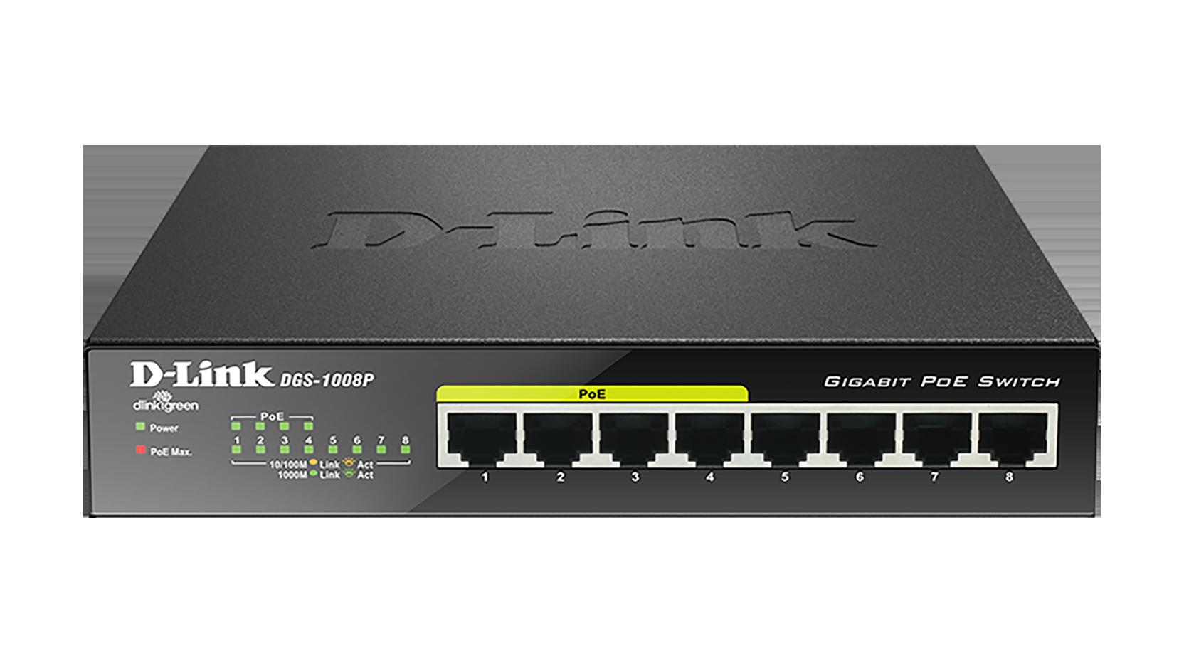 Dgs 1008p 8 Port Gigabit Poe Unmanaged Desktop Switch D Link