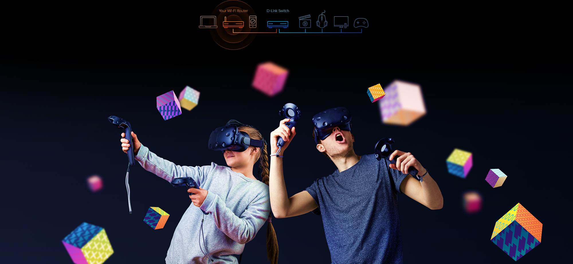 boy and girl playing VR games