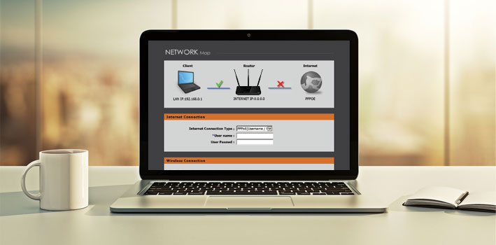 DIR-809 Wireless AC750 Dual Band Router - configured on a browser on a laptop