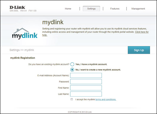 how to set up password on mydlink