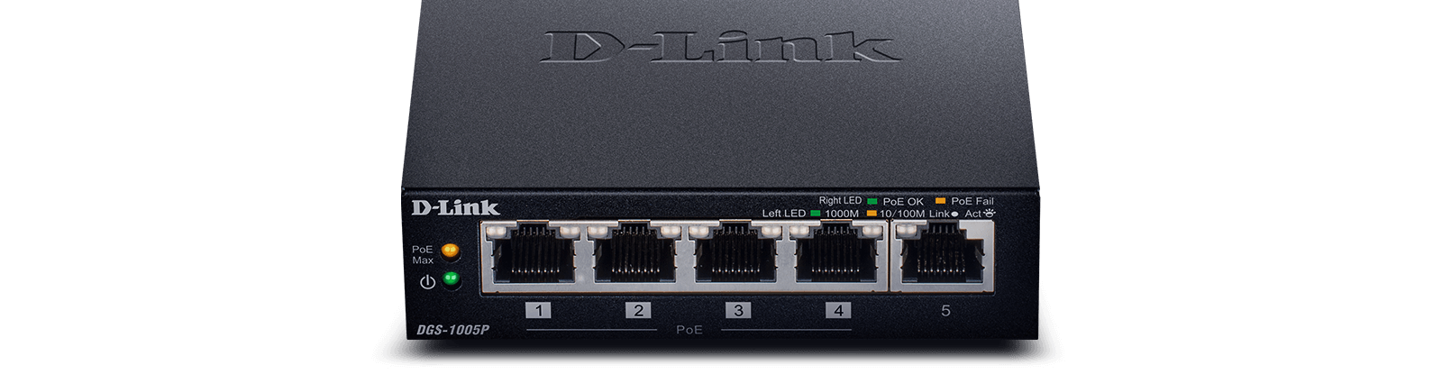 DGS-1005P - 5-Port Desktop Gigabit PoE+ Switch