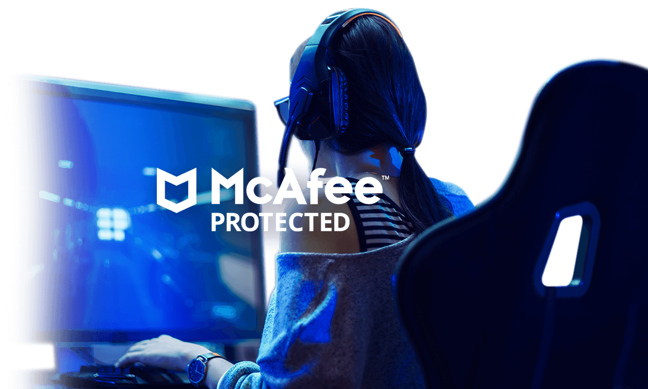 Woman playing video games on a desktop computer with McAfee protected logo