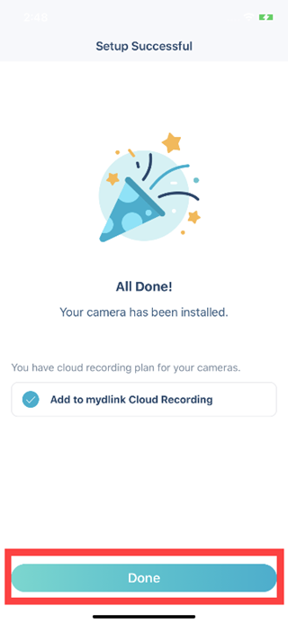 How do I set up my camera using the mydlink app