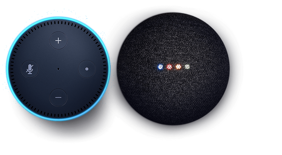 Amazon Echo Dot and Google Home Mini