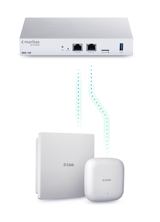 Diagram showing DNH-100 Nuclias Connect Hub connected to two access points