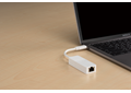DUB-E150 USB-C to Gigabit Ethernet Adapter attached to a laptop