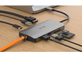 DUB-M810 8-in-1 USB-C Hub with HDMI/Ethernet/Card Reader/Power Delivery - on a desk connected to a laptop with example connections