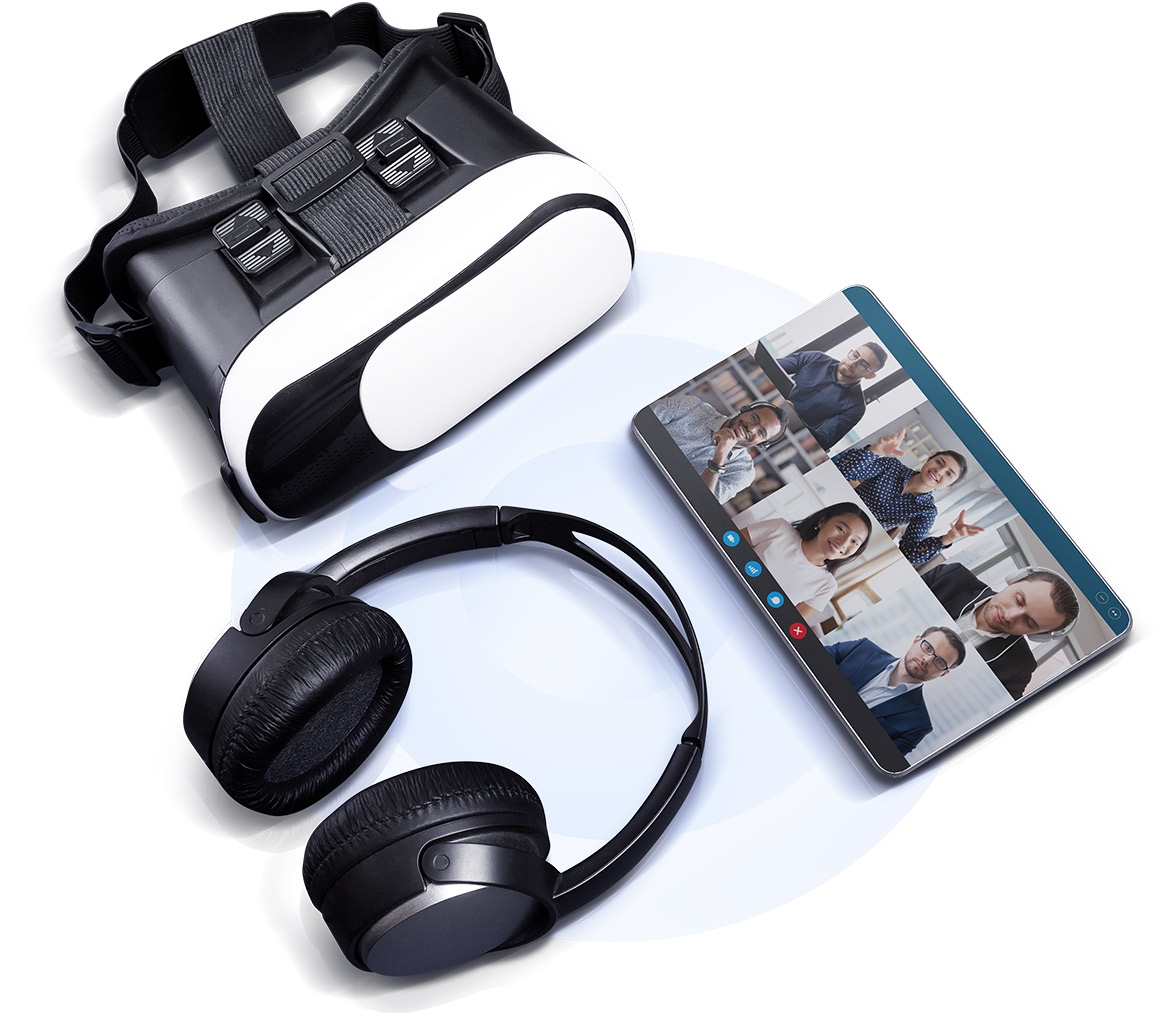 VR headset, overear headphones, all-screen phone