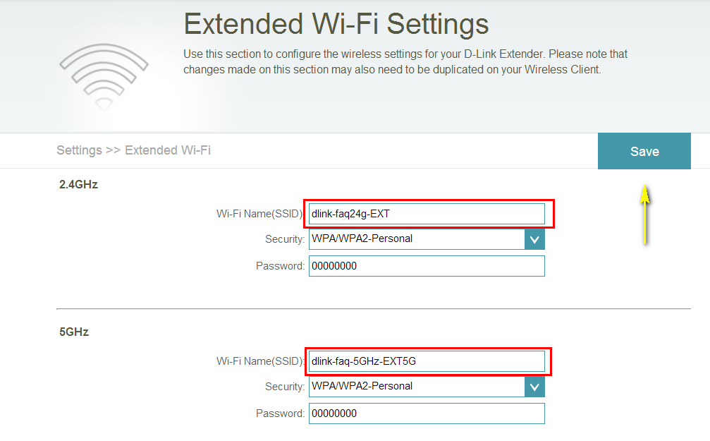 How do I change the SSID/network name of the extended