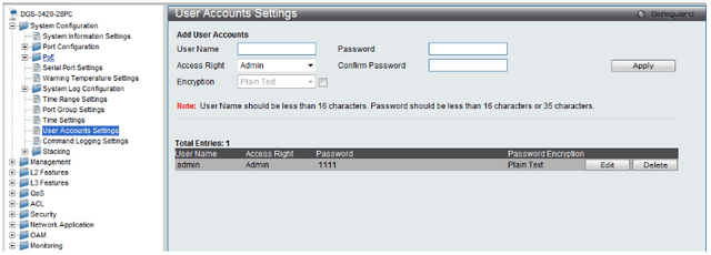 DGS-3120 Enable SHA 1 encrypted user mode