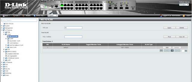 How to Setup VLANS - Scenario Configuration DGS-1510-Series