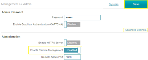 enable remote management for my router