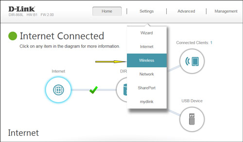 locate your dlink routers wireless settings