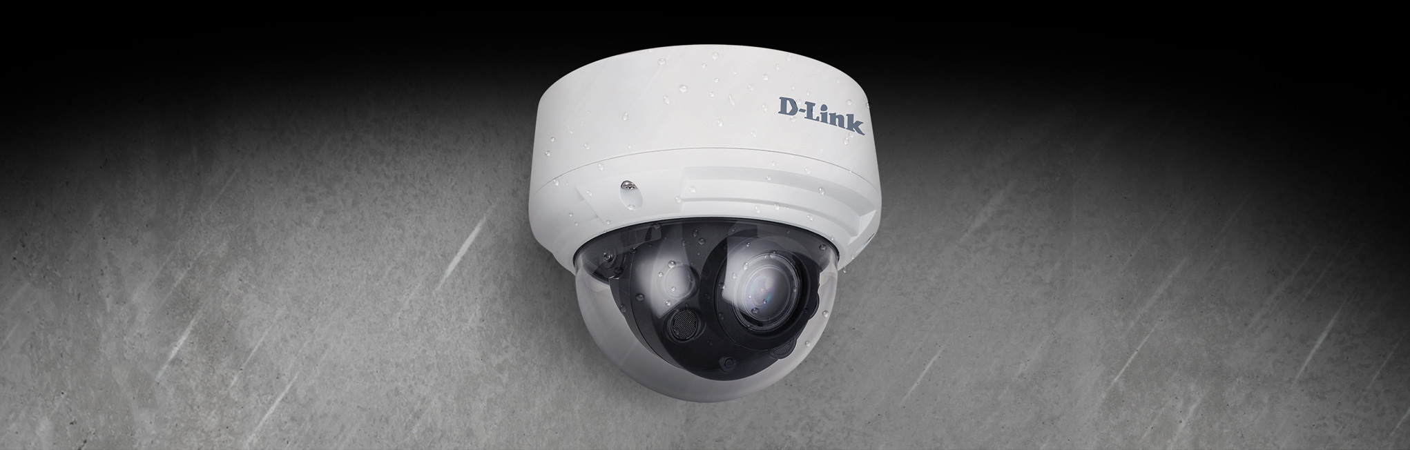 DCS-4618EK 8 Megapixel H.265 Outdoor Dome Camera - mounted outside in the rain.