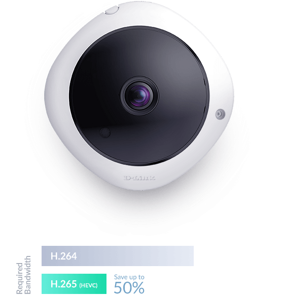 DCS-4625 5-Megapixel Panoramic Fisheye Camera H.625 codec efficiency