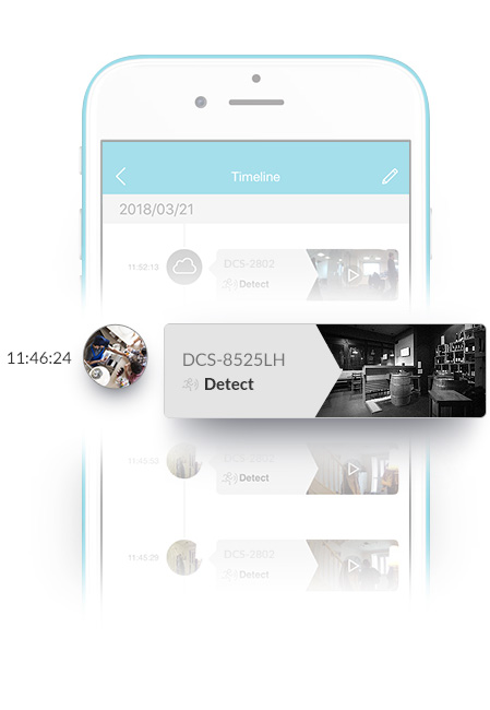 mydlink™ app interface showing a motion detection