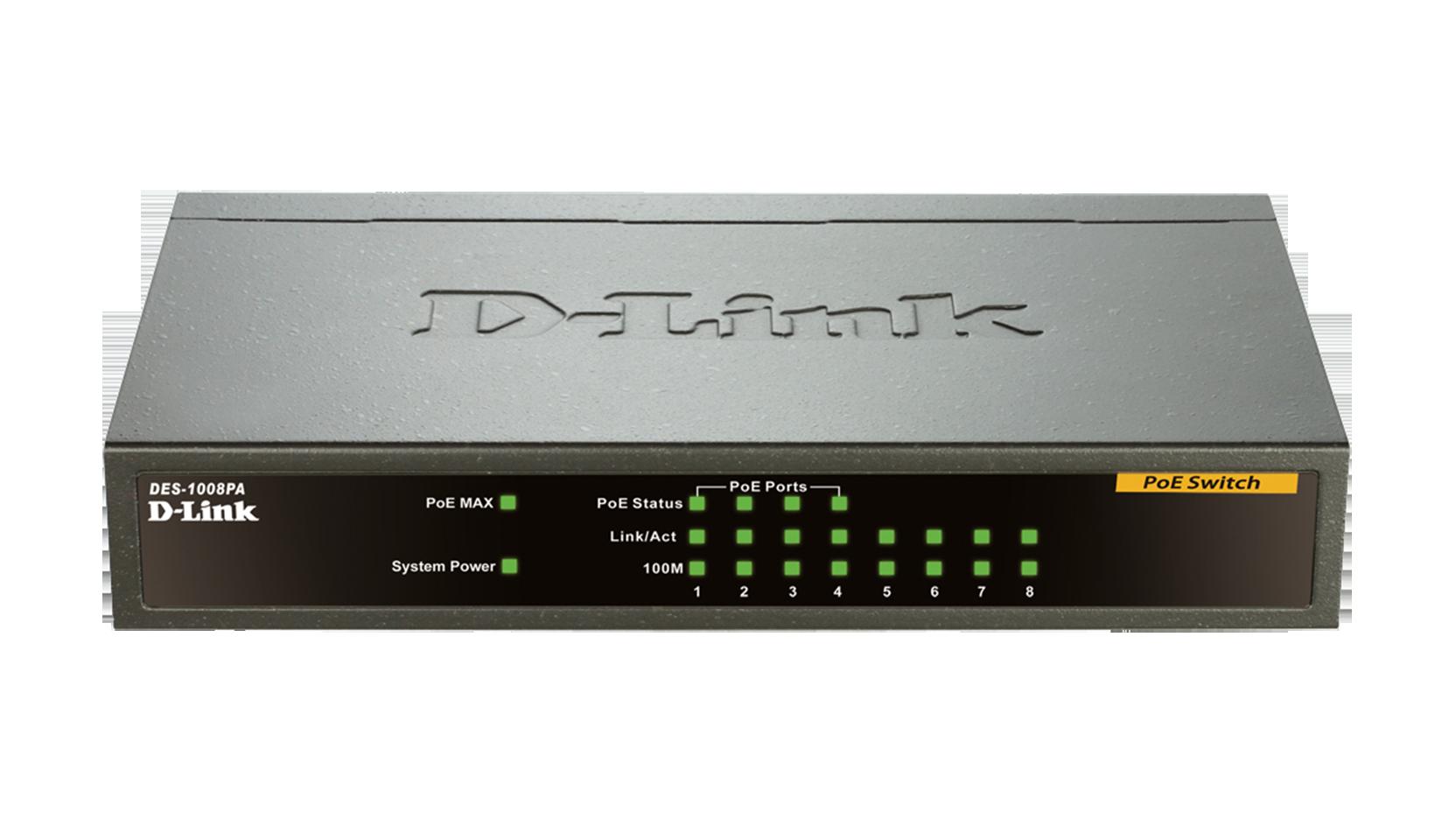D-Link DES-1008PA 8-Port 10//100 Mbps 4 PoE Unmanaged Desktop Metal Case Switch