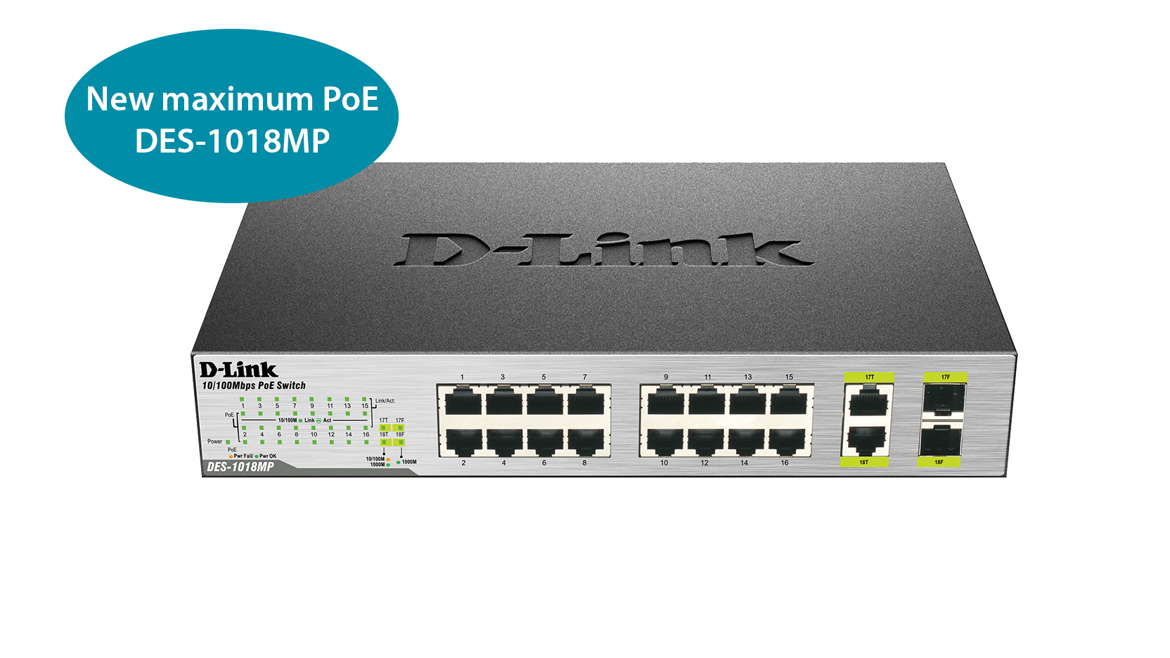 Des 1018mp 18 Port Fast Ethernet Poe Switch With 2 Gigabit Uplink Wiring Multiple Switches Ports D Link Uk
