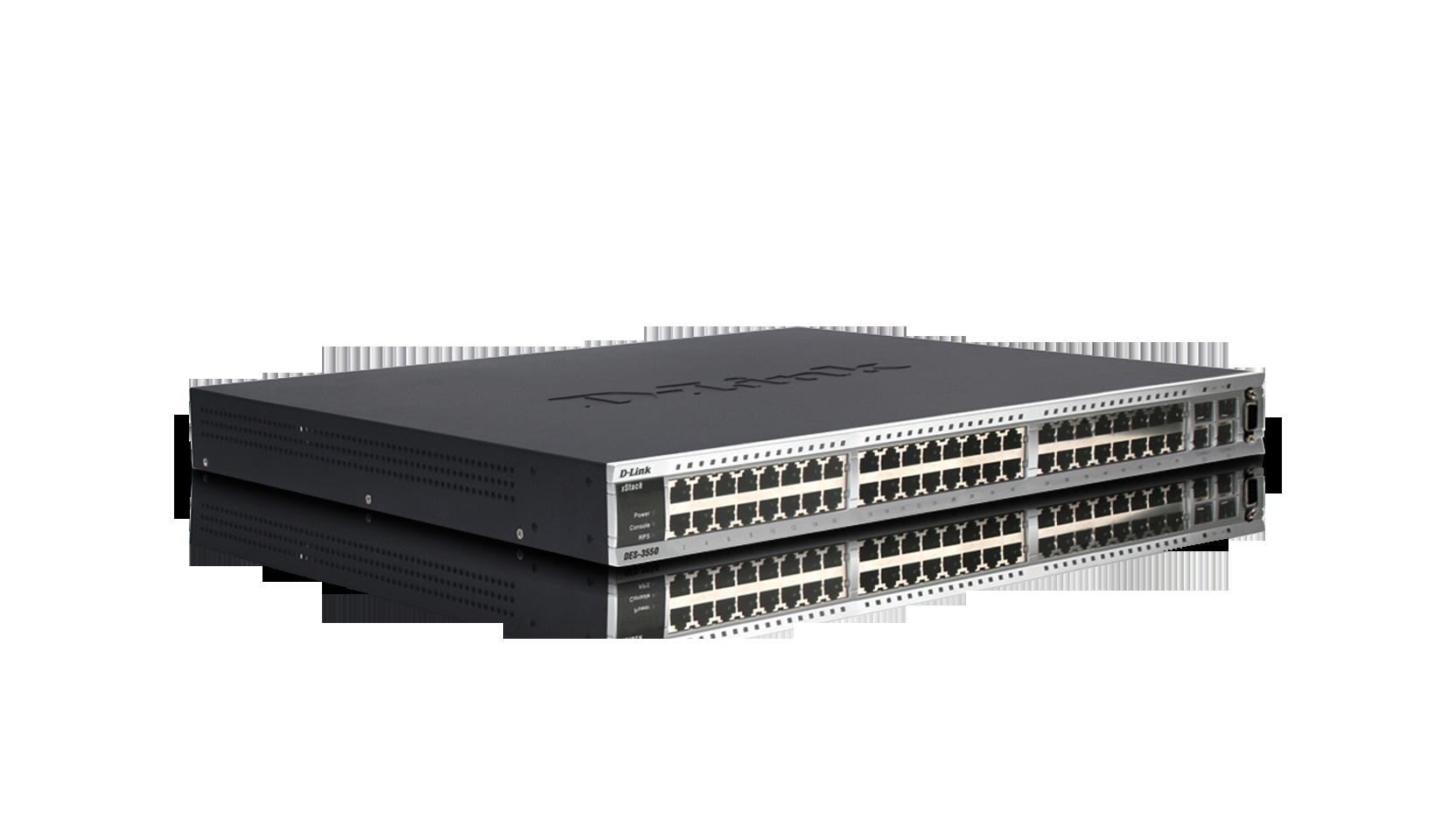 DES-3550 xStack 48-Port 10-100Mbps Stackable Switches With 2 Combo  1000BASE-T-SFP Gigabit Ports | D-Link UK