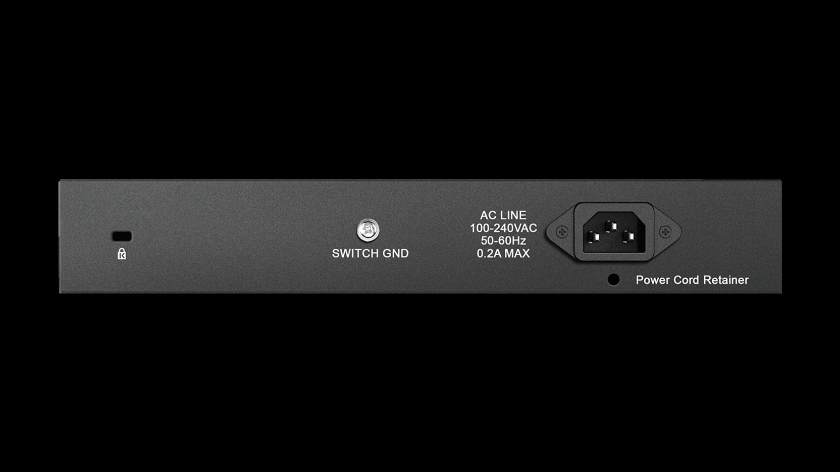 DGS-1016D 16-Port Gigabit Unmanaged Desktop Switch Back View
