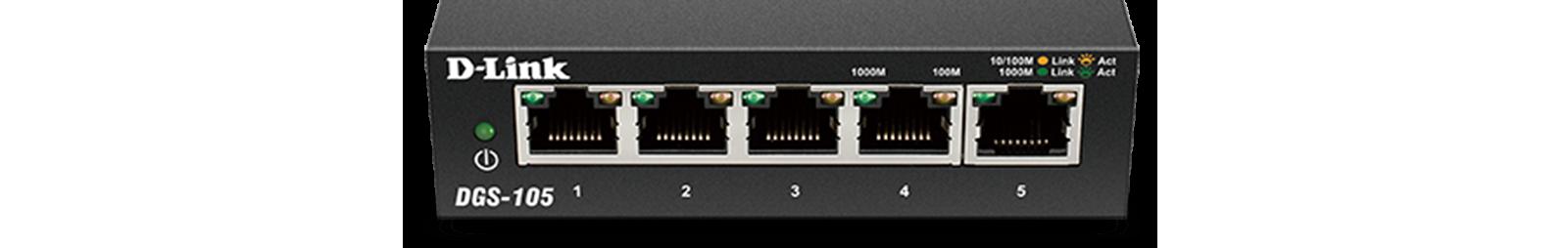 D-Link DGS-105 5 Port Gigabit Unmanaged Metal Desktop Switch