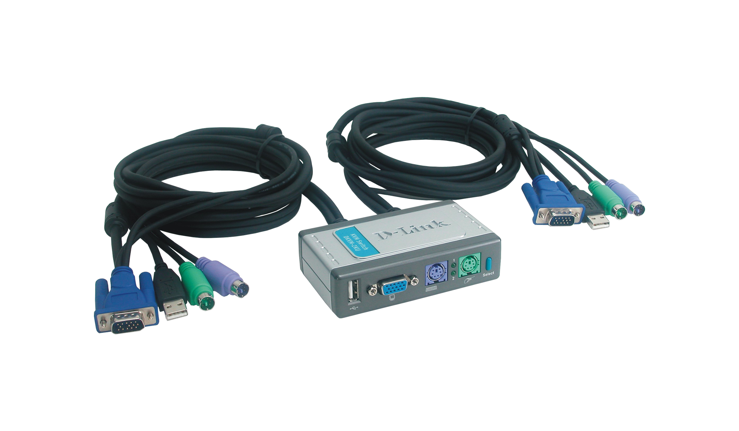 2 Port KVM Switch With USB And Built In Cables