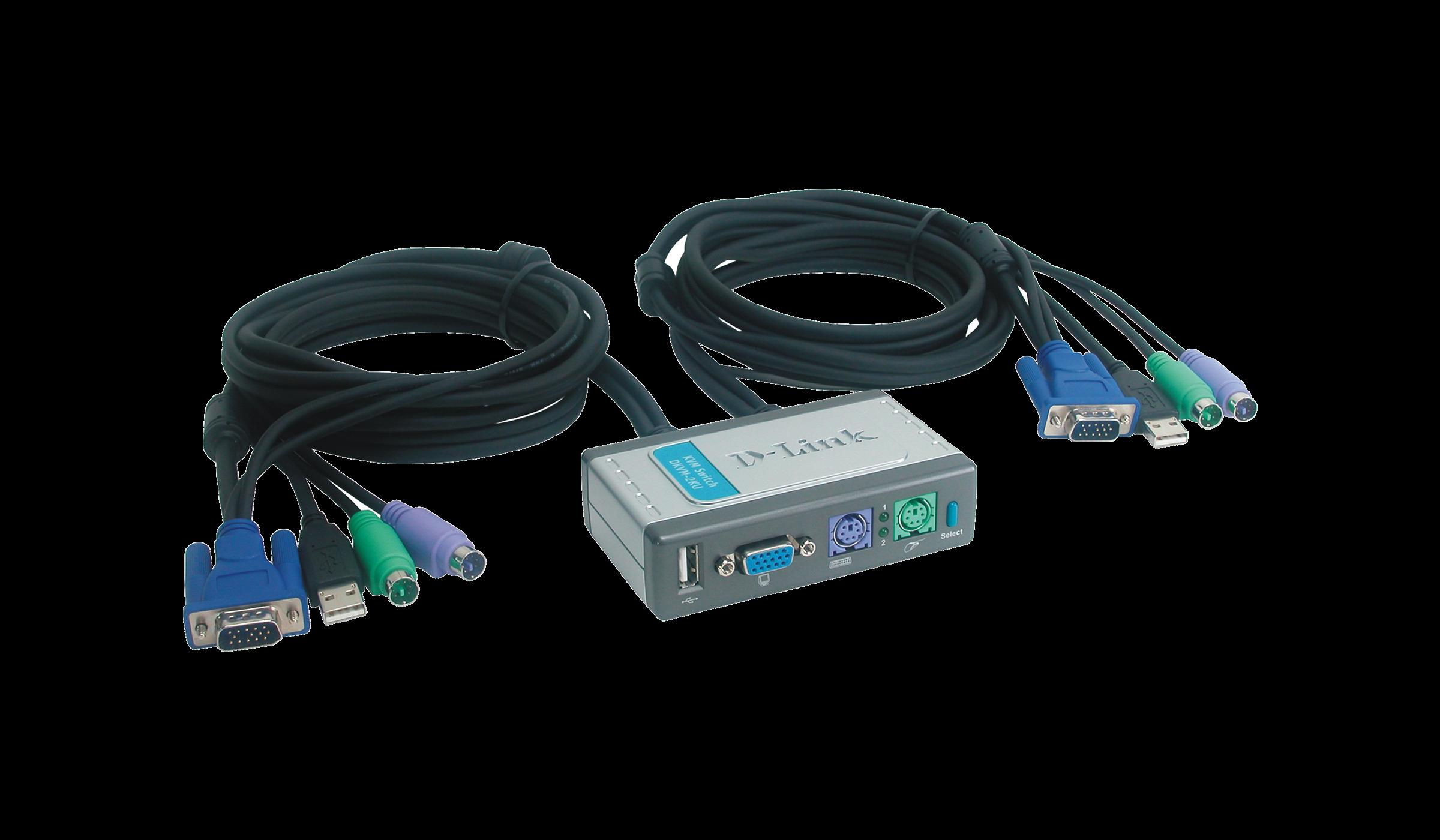 DKVM2KU 2Port KVM Switch with USB Port and Builtin Cables DLink UK