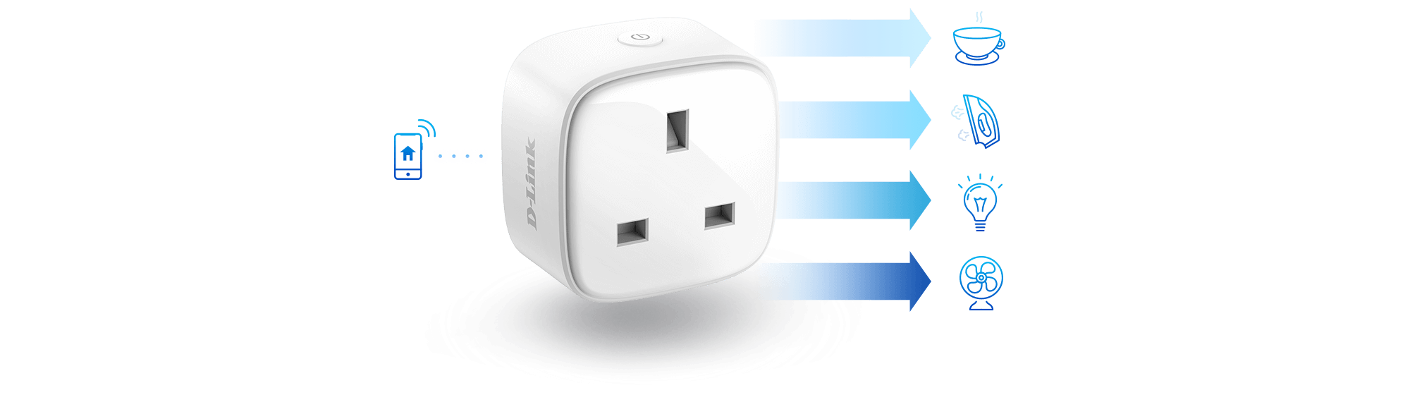 Mini Wi-Fi Smart Plug powering a range of example devices using a phone