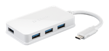 DUB-H410 USB-C to 4-Port USB 3.0 Hub Angled