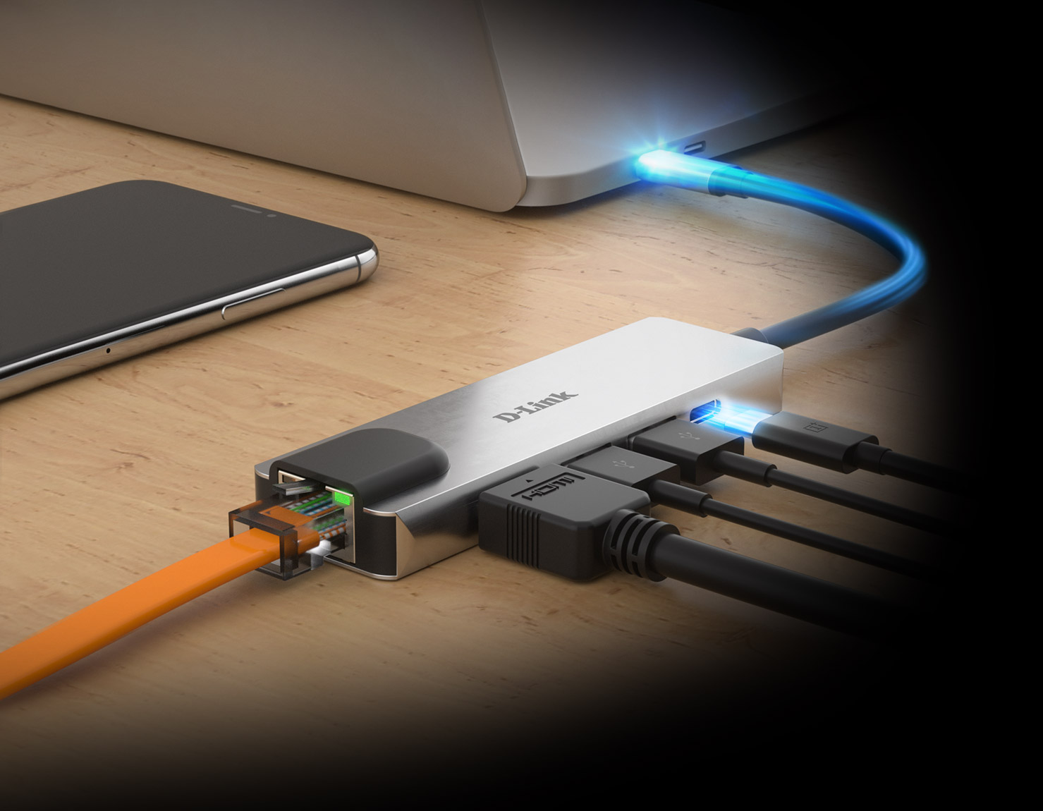 DUB-M520 5-in-1 USB-C Hub with HDMI/Ethernet and Power Delivery with Power Delivery to a laptop and example connections