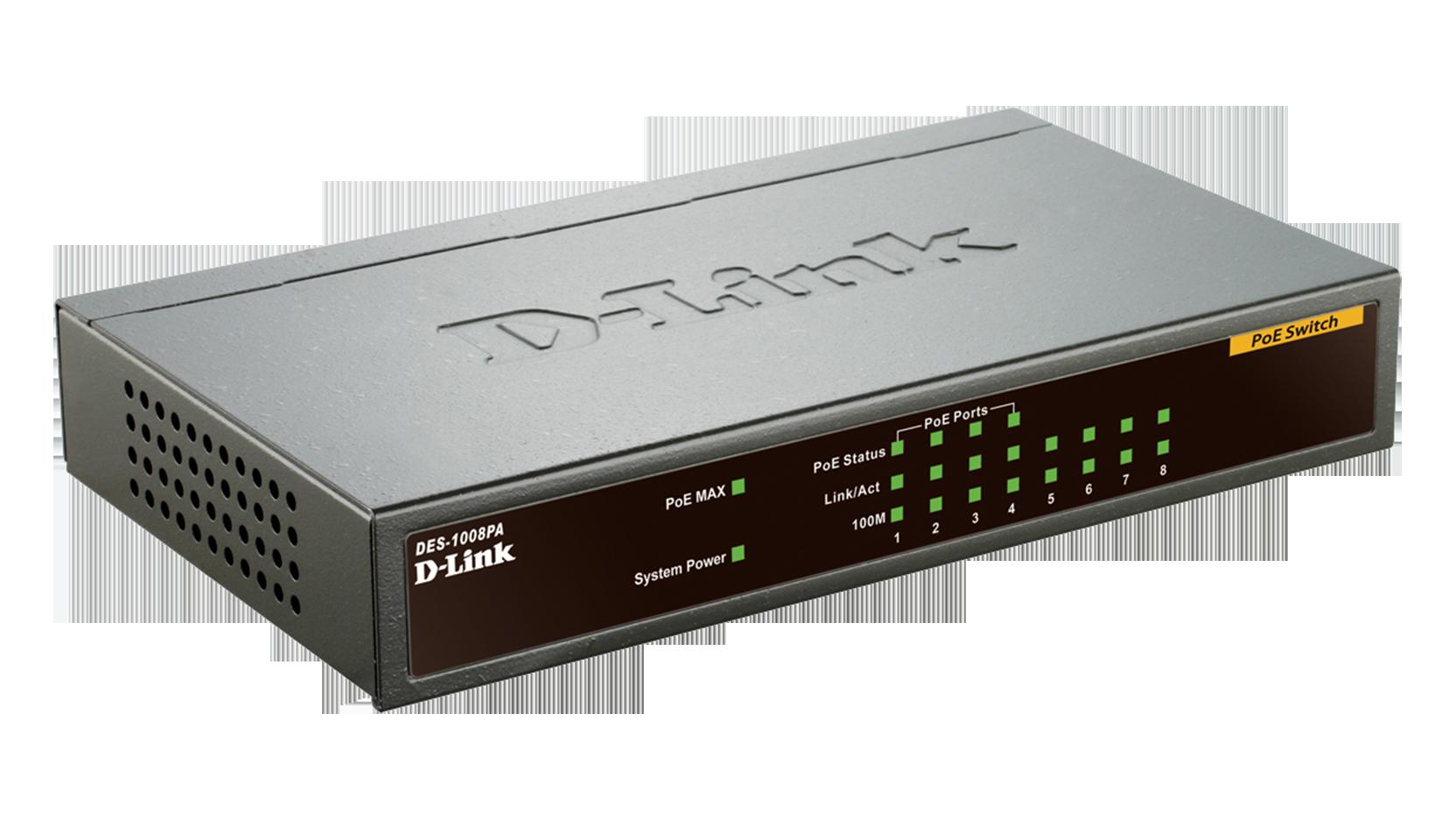 DES 1008PA 8 Port Fast Ethernet PoE Desktop Switch